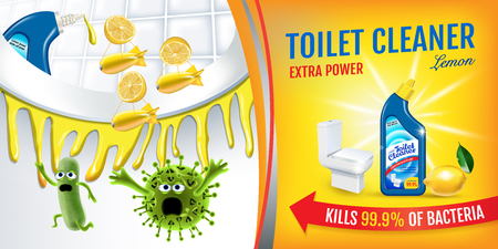 Citrus fragrance toilet cleaner ads. Cleaner bobs kill germs inside toilet bowl. Vector realistic illustration.