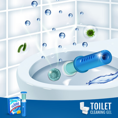 Fesh fragrance toilet cleaner gel disc ads. Vector realistic Illustration with toilet bowl gel dispenser and gel discs. Illustration