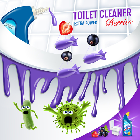 Berries fragrance toilet cleaner ads. Cleaner bobs kill germs inside toilet bowl. Vector realistic illustration. Ilustração