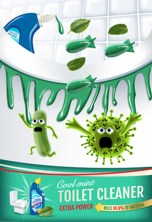 Cool mint fragrance toilet cleaner ads. Cleaner bobs kill germs inside toilet bowl. Vector realistic illustration. Illustration