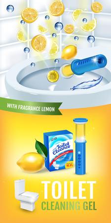 Citrus fragrance toilet cleaner gel disc ads. Vector realistic Illustration with toilet bowl gel dispenser and gel discs.