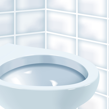 Vector realistic illustration of toilet bowl. While toilet room with white ceramic toilet bowl.
