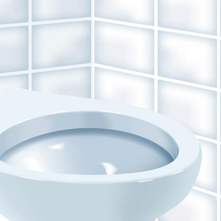 Vector realistische illustratie van wc-pot. Terwijl toiletruimte met witte ceramische toiletkom.