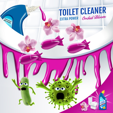 Orchid fragrance toilet cleaner ads. Cleaner bobs kill germs inside toilet bowl. Vector realistic illustration. Poster. Illustration