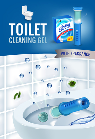 Fresh fragrance toilet cleaner gel disc ads. Vector realistic Illustration with toilet bowl gel dispenser and gel discs.