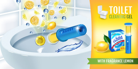 Citrus fragrance toilet cleaner gel disc ads. Vector realistic Illustration with toilet bowl gel dispenser and gel discs.