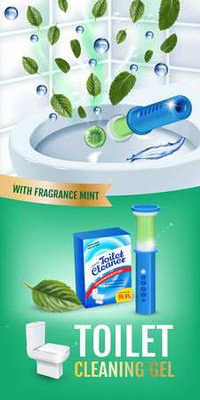 Cool mint fragrance toilet cleaner gel disc ads. Vector realistic Illustration with toilet bowl gel dispenser and gel discs.