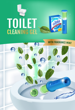 Cool mint fragrance toilet cleaner gel disc ads. Vector realistic Illustration with toilet bowl gel dispenser and gel discs.