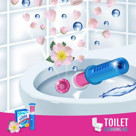 Rose fragrance toilet cleaner gel disc ads. Vector realistic Illustration with toilet bowl gel dispenser and gel discs.