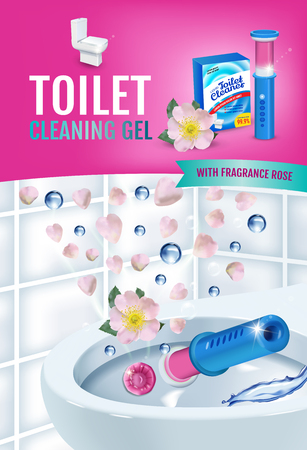 Rose fragrance toilet cleaner gel disc ads. Vector realistic Illustration with toilet bowl gel dispenser and gel discs.