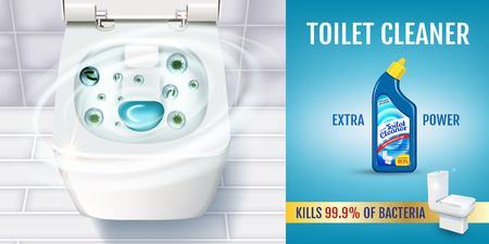 Fresh fragrance toilet cleaner gel ads. Vector realistic Illustration with top view of toilet bowl and disinfectant container.