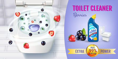 Berry fragrance toilet cleaner gel ads. Vector realistic Illustration with top view of toilet bowl and disinfectant container.