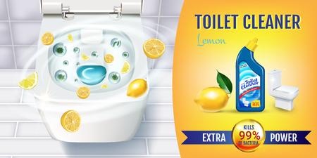 柑橘系の香りのトイレ クリーナー ゲル広告。ベクトル トイレット ボウルと消毒容器の上面とリアルなイラスト。水平型バナー。