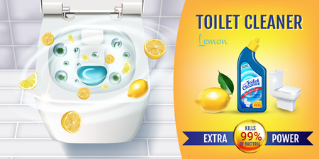 Citrus fragrance toilet cleaner gel ads. Vector realistic Illustration with top view of toilet bowl and disinfectant container. Horizontal banner. Ilustração