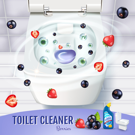 Berry fragrance toilet cleaner gel ads. Vector realistic Illustration with top view of toilet bowl and disinfectant container
