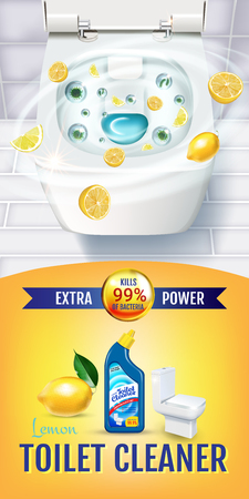 Citrus fragrance toilet cleaner gel ads. Vector realistic Illustration with top view of toilet bowl and disinfectant container. Ilustração