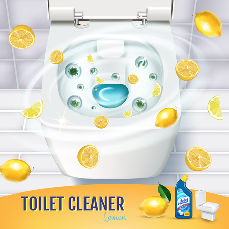 Citrus fragrance toilet cleaner gel ads. Vector realistic Illustration with top view of toilet bowl and disinfectant container. Illustration