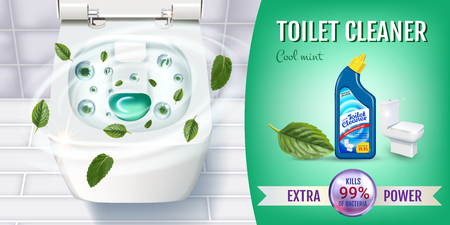 Cool mint fragrance toilet cleaner gel ads. Vector realistic Illustration with top view of toilet bowl and disinfectant container. 向量圖像