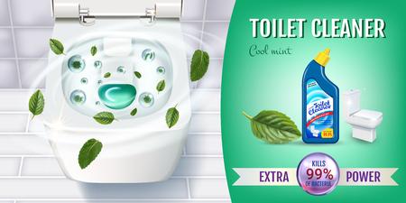 Cool mint geur toiletreiniger gel-advertenties. Realistische vectorillustratie met bovenaanzicht van toiletpot en desinfecterende container. Vector Illustratie