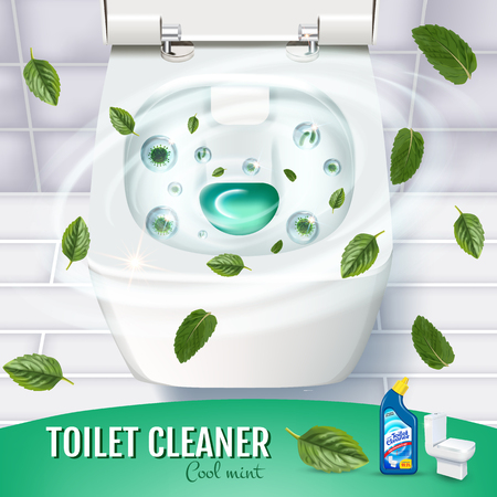 Cool mint fragrance toilet cleaner gel ads. Vector realistic Illustration with top view of toilet bowl and disinfectant container
