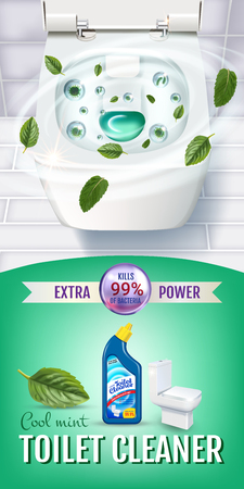 Cool mint fragrance toilet cleaner gel ads. Vector realistic Illustration with top view of toilet bowl and disinfectant container. Ilustração