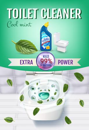 クールなミントの香りトイレット クリーナー ゲル広告。ベクトル トイレット ボウルと消毒容器の上面とリアルなイラスト。