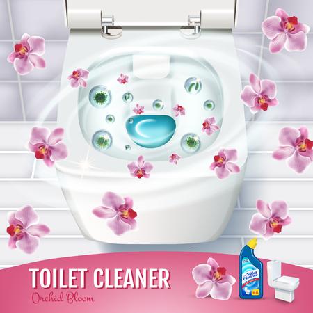 난초 향수 화장실 청소기 젤 광고. 변기 및 살균제 컨테이너의 상위 뷰 벡터 현실적인 그림. 포스터.