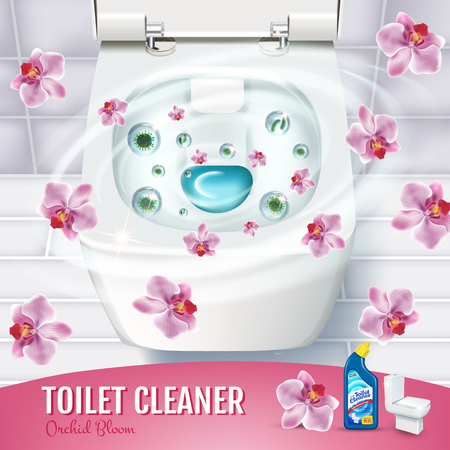 Orchid fragrance toilet cleaner gel ads. Vector realistic Illustration with top view of toilet bowl and disinfectant container. Poster.
