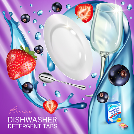 Berries fragrance dishwasher detergent tabs ads. Vector realistic Illustration with dishes in water splash, strawberry and blackcurrant. Poster