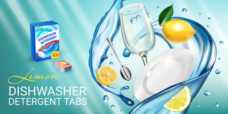 Lemon fragrance dishwasher detergent tabs ads. Vector realistic Illustration with dishes in water splash and citrus fruits. Horizontal banner Çizim