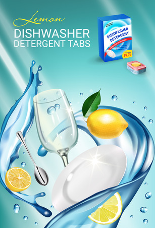 Lemon fragrance dishwasher detergent tabs ads. Vector realistic Illustration with dishes in water splash and citrus fruits. Vertical poster