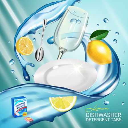 Lemon fragrance dishwasher detergent tabs ads. Vector realistic Illustration with dishes in water splash and citrus fruits. Poster Vettoriali