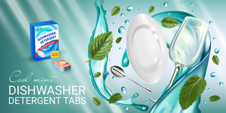 Vector realistic Illustration with dishes in water splash and mint leafs. Horizontal banner Illustration