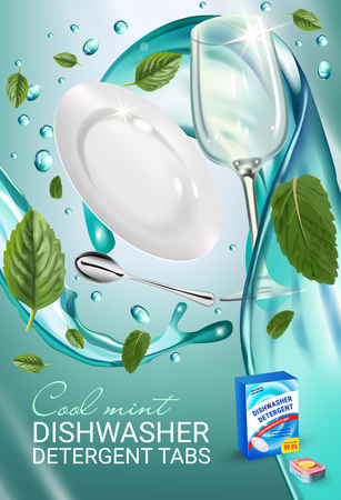 Vector realistic Illustration with dishes in water splash and mint leafs. Vertical poster