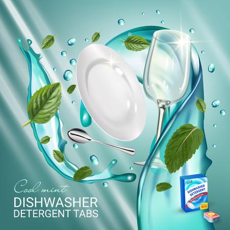 Pepermunt geur afwasmiddel tabs advertenties. Vector realistische illustratie met gerechten in water splash en muntblaadjes. Poster