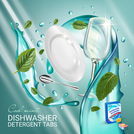 Peppermint fragrance dishwasher detergent tabs ads. Vector realistic Illustration with dishes in water splash and mint leafs. Poster