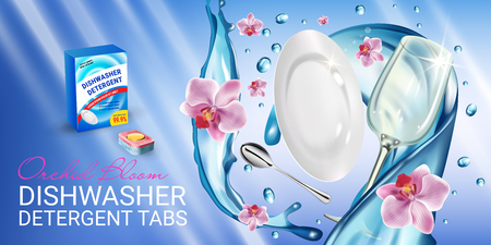 Vector realistic Illustration with dishes in water splash and flowers. Horizontal banner Illustration