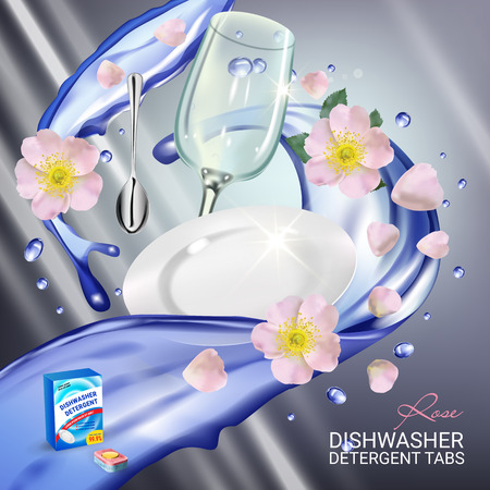 kitchen cleaning: Vector realistic Illustration with dishes in water splash and flowers. Poster Illustration