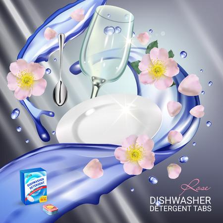 Vector realistische illustratie met gerechten in water splash en bloemen. Poster Stock Illustratie
