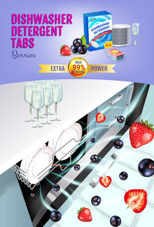 Vector realistic Illustration with dishwasher in kitchen counter and detergent package. Vertical poster Çizim