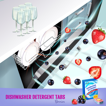 Vector realistic Illustration with dishwasher in kitchen counter and detergent package. Poster Çizim