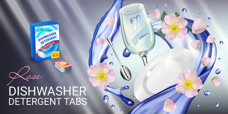 Rose fragrance dishwasher detergent tabs ads. Vector realistic Illustration with dishes in water splash and flowers. Horizontal banner