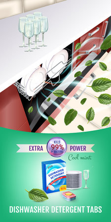 Vector realistic Illustration with dishwasher in kitchen counter and detergent package. Vertical banner Illustration