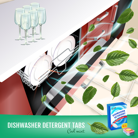 Vector realistic Illustration with dishwasher in kitchen counter and detergent package. Poster Vektoros illusztráció