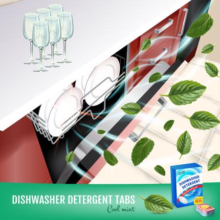 Vector realistische illustratie met vaatwasser in aanrecht en wasmiddel pakket. Poster Vector Illustratie