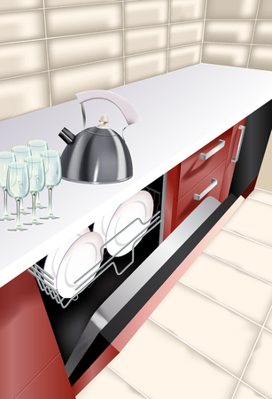 Vector realistic illustration of kitchen room. Open dishwasher in kitchen counter.