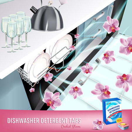 Orchid fragrance dishwasher detergent tabs ads. Vector realistic Illustration with dishwasher in kitchen counter and detergent package. Poster