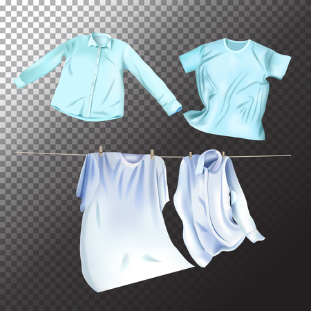 Set of realistic clean laundry clothes. Vector isolated clothes objects on transparent background Illusztráció