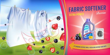 딸기 향기 섬유 유연제 젤 광고. 벡터 현실적인 세탁 옷 및 유연제 린스 컨테이너와 그림. 수평 배너