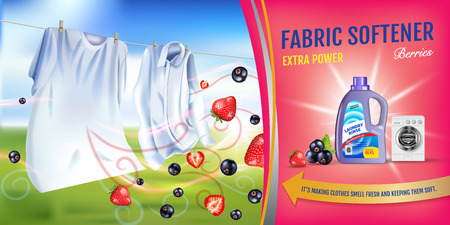 Berries fragrance fabric softener gel ads. Vector realistic Illustration with laundry clothes and softener rinse container. Horizontal banner